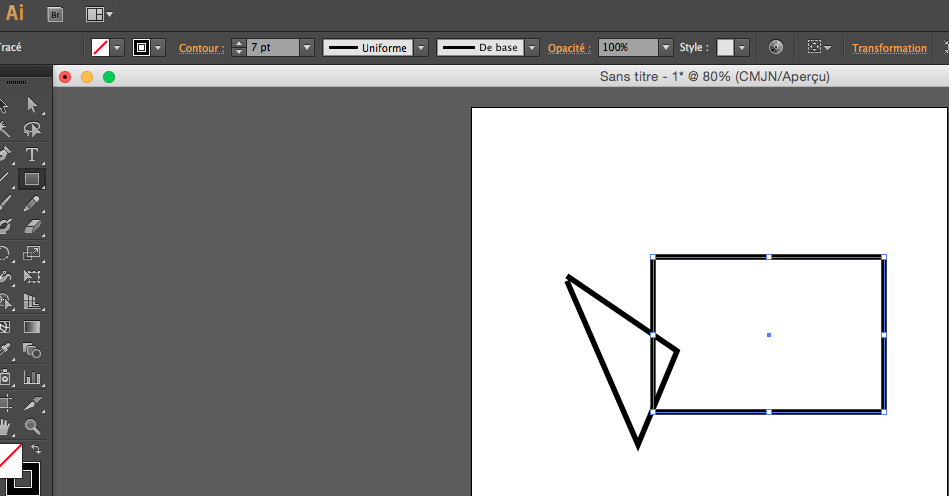 assemblage de tracé sur illustrator